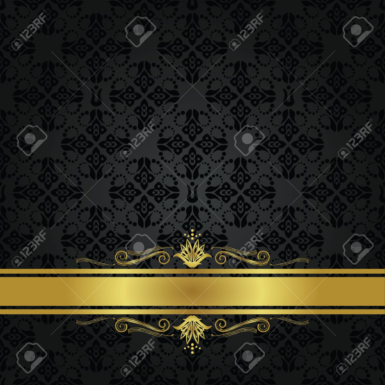 seamless small black elements and gold ribbon cover royalty free