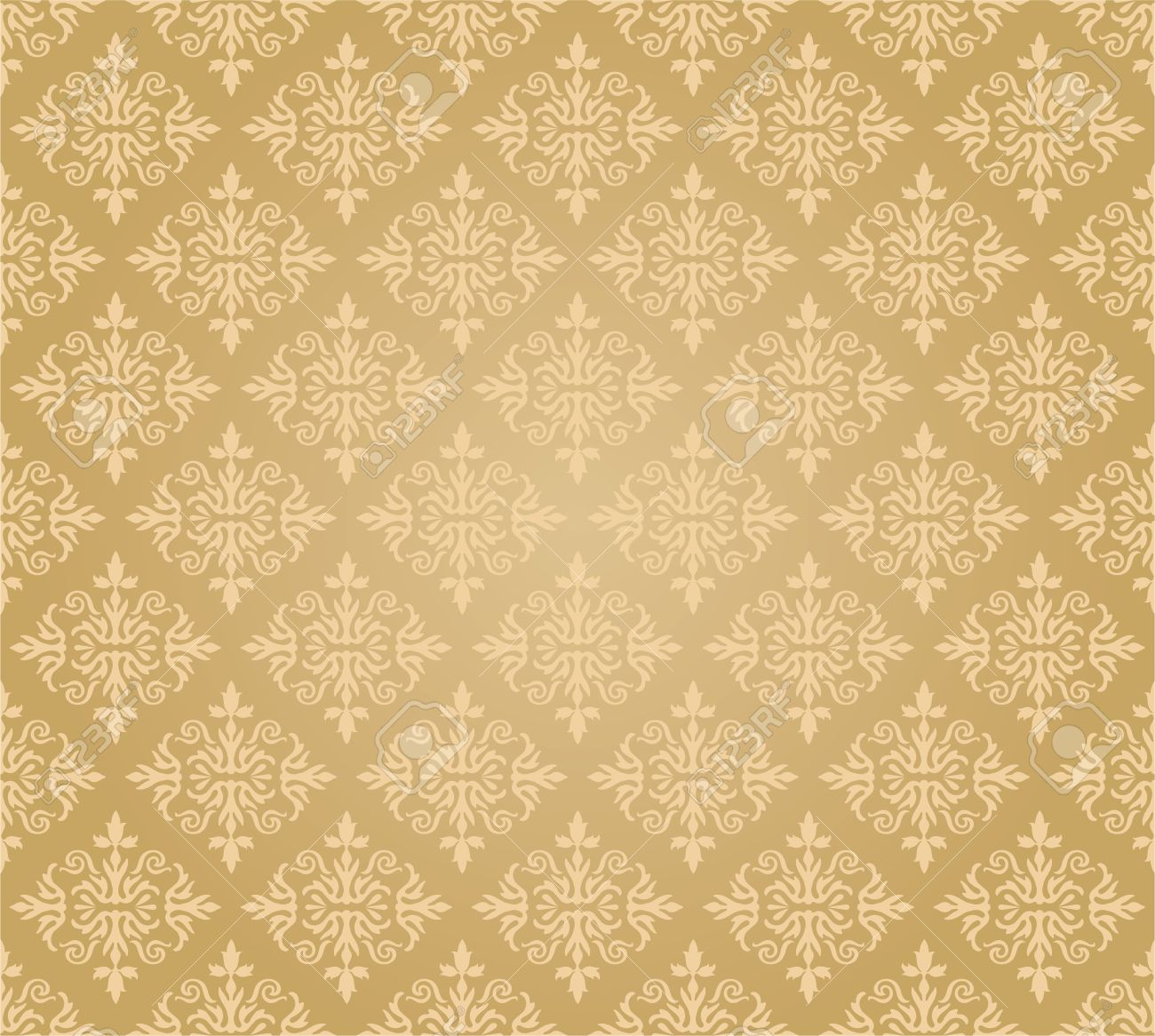 Seamless Golden Floral Wallpaper Diamond Pattern Royalty Free