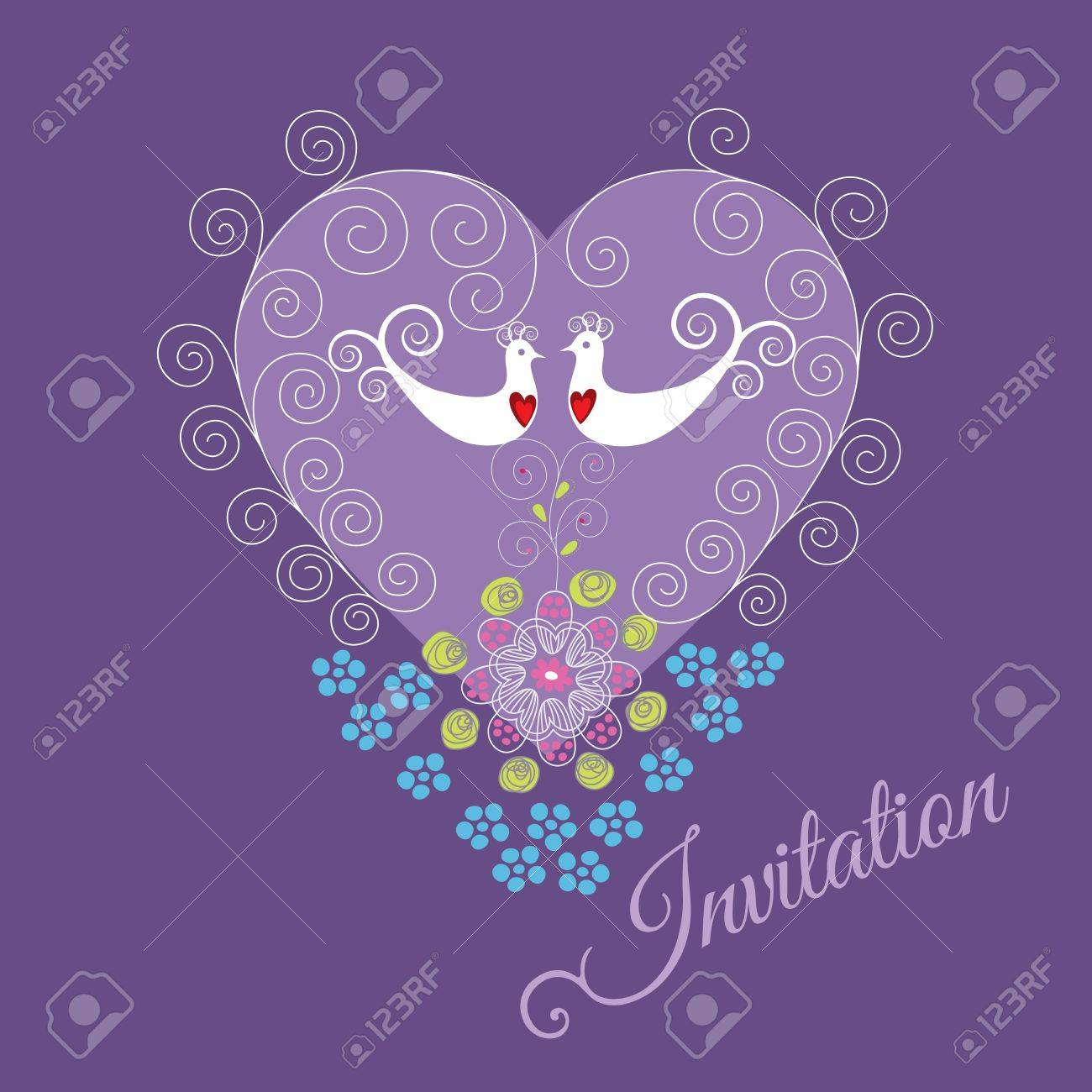 Purple invitation with two love birds, heart ornament, swirls and flowers Stock Vector - 18818763