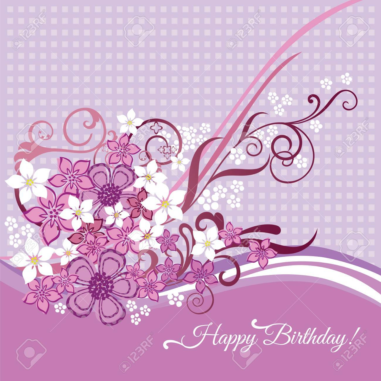 Feminine happy birtday card with pink and white flowers and swirls Stock Vector - 18818767