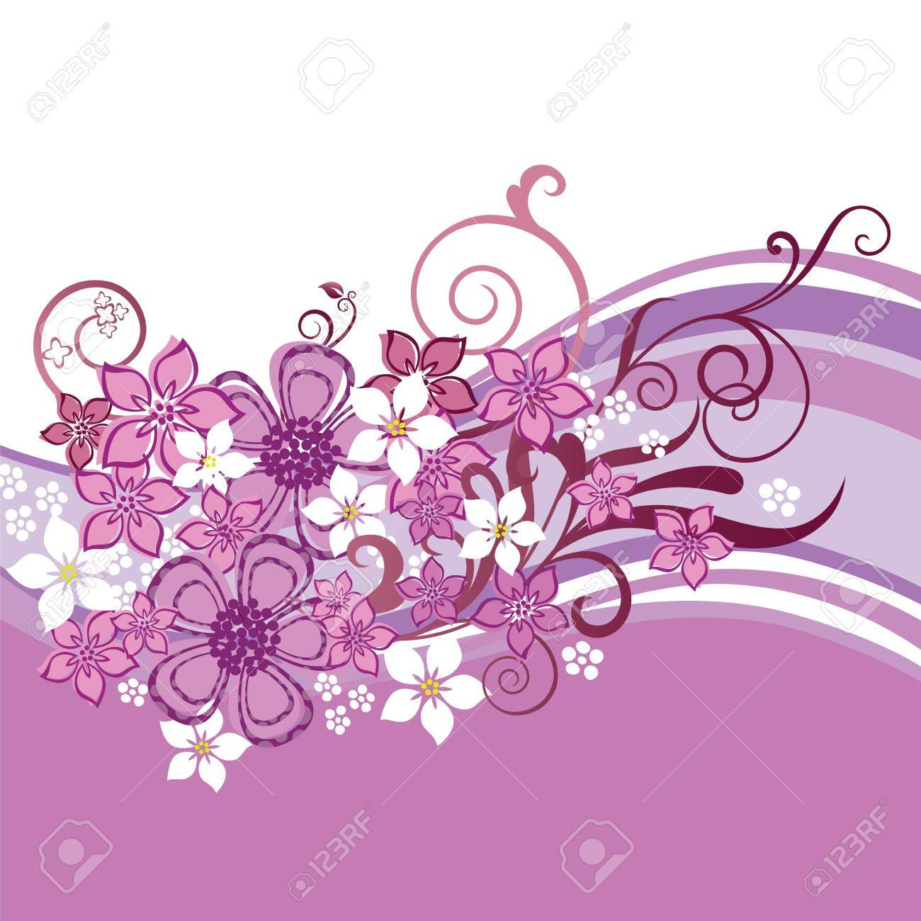 Pink and white flowers and swirls border isolated on white background. This image is a vector illustration. Stock Vector - 18818809
