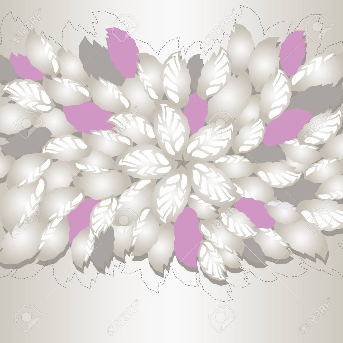 Silver and pink flowers and leaves book cover or greeting card  This image is a vector illustration Stock Vector - 19430709