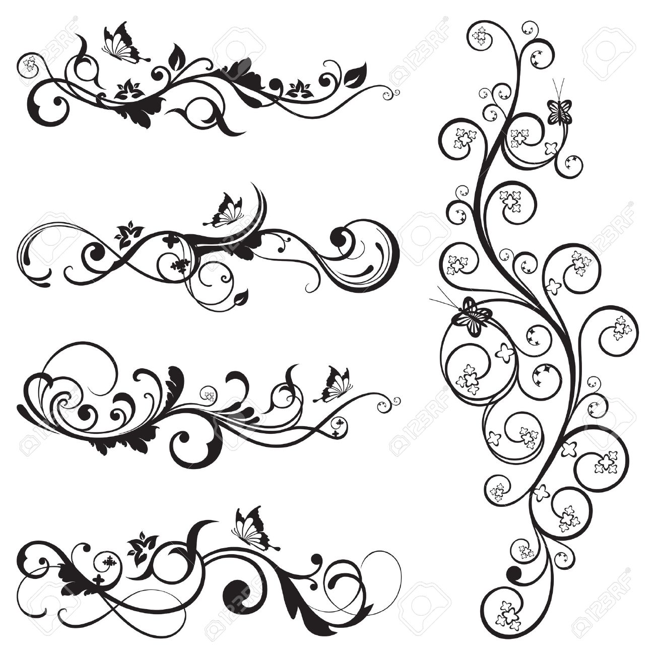Collection of vintage floral silhouette designs with butterflies and swirls Stock Vector - 20277138