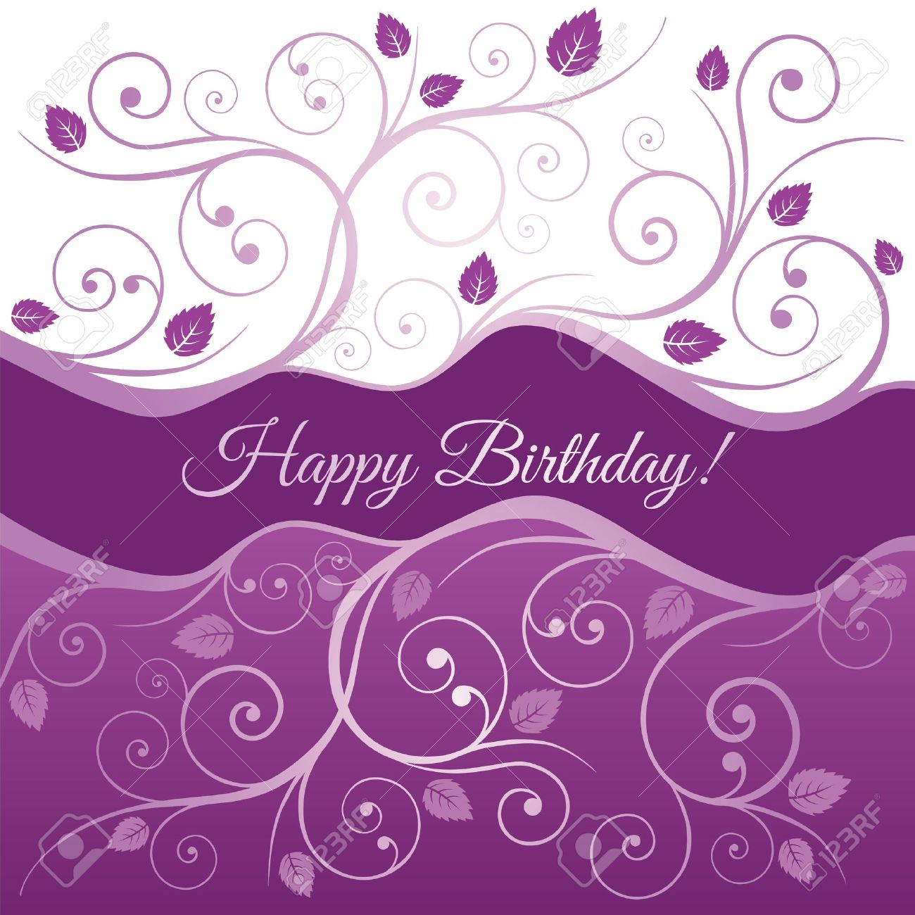 Happy Birthday card with pink and purple swirls and leaves Stock Vector - 20277149
