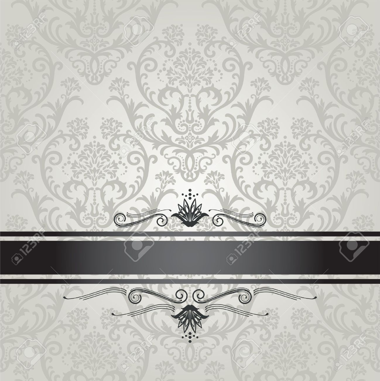 Luxury Silver Seamless Floral Wallpaper Pattern Book Cover With