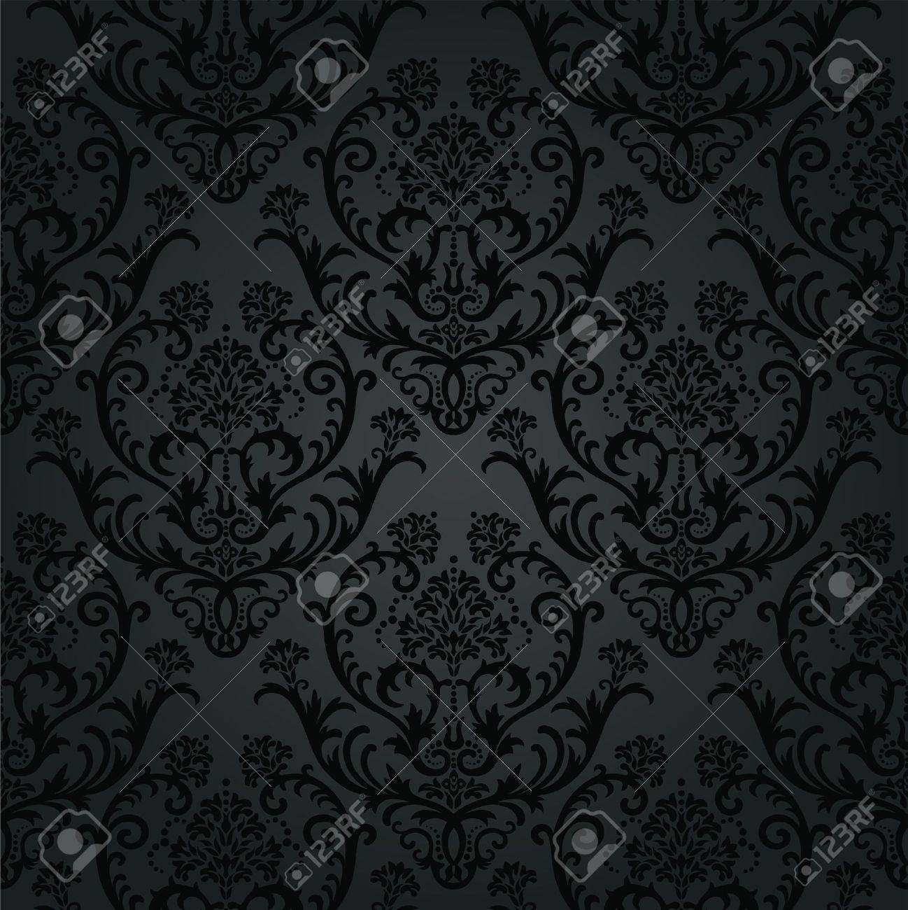 Carta Da Parati Nera carboncino nero di lusso modello carta da parati floreale. questa immagine  è una illustrazione vettoriale.