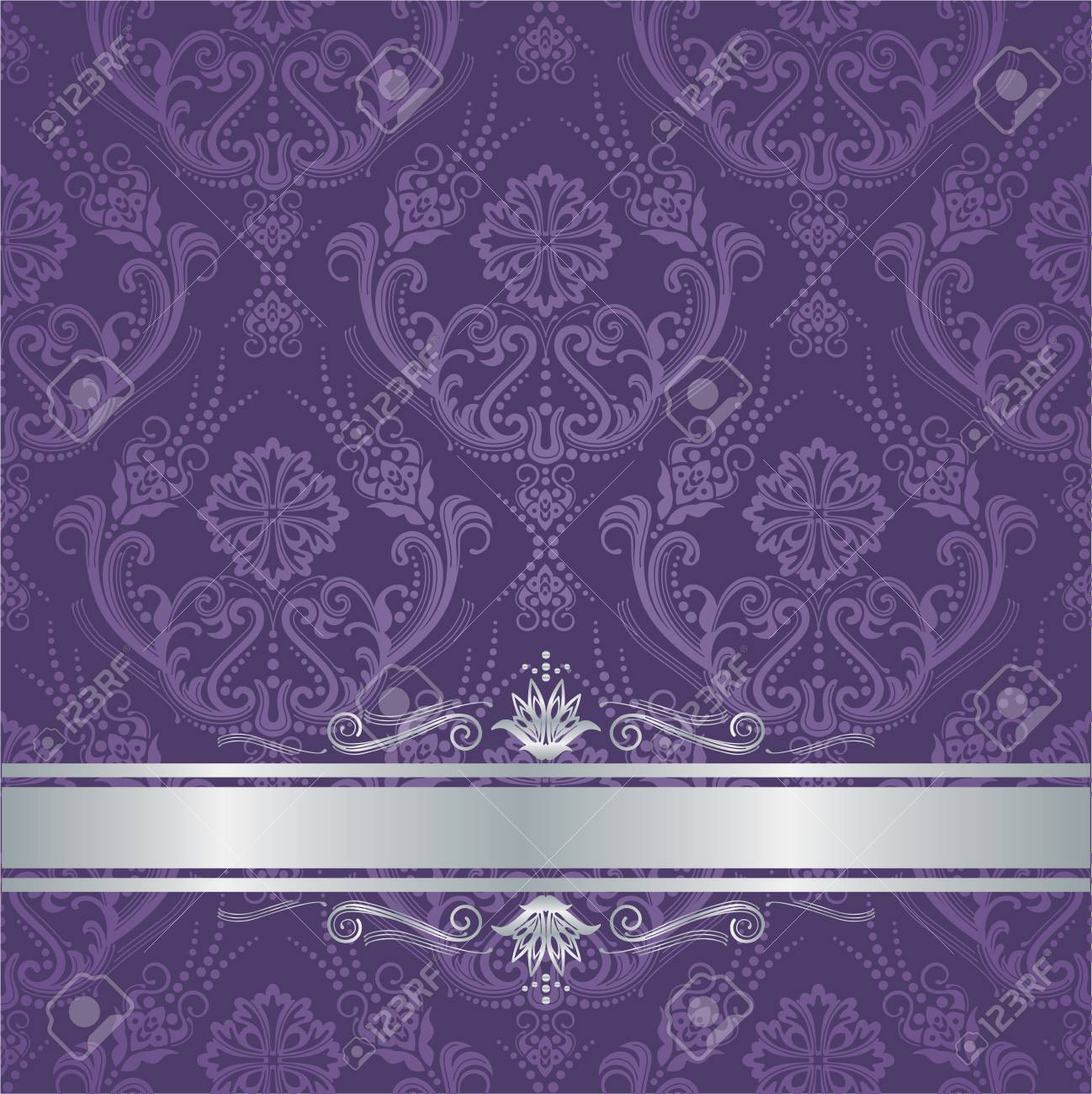 Luxury Purple Victorian Style Floral Damask Wallpaper Cover With Silver Border This Image Is A