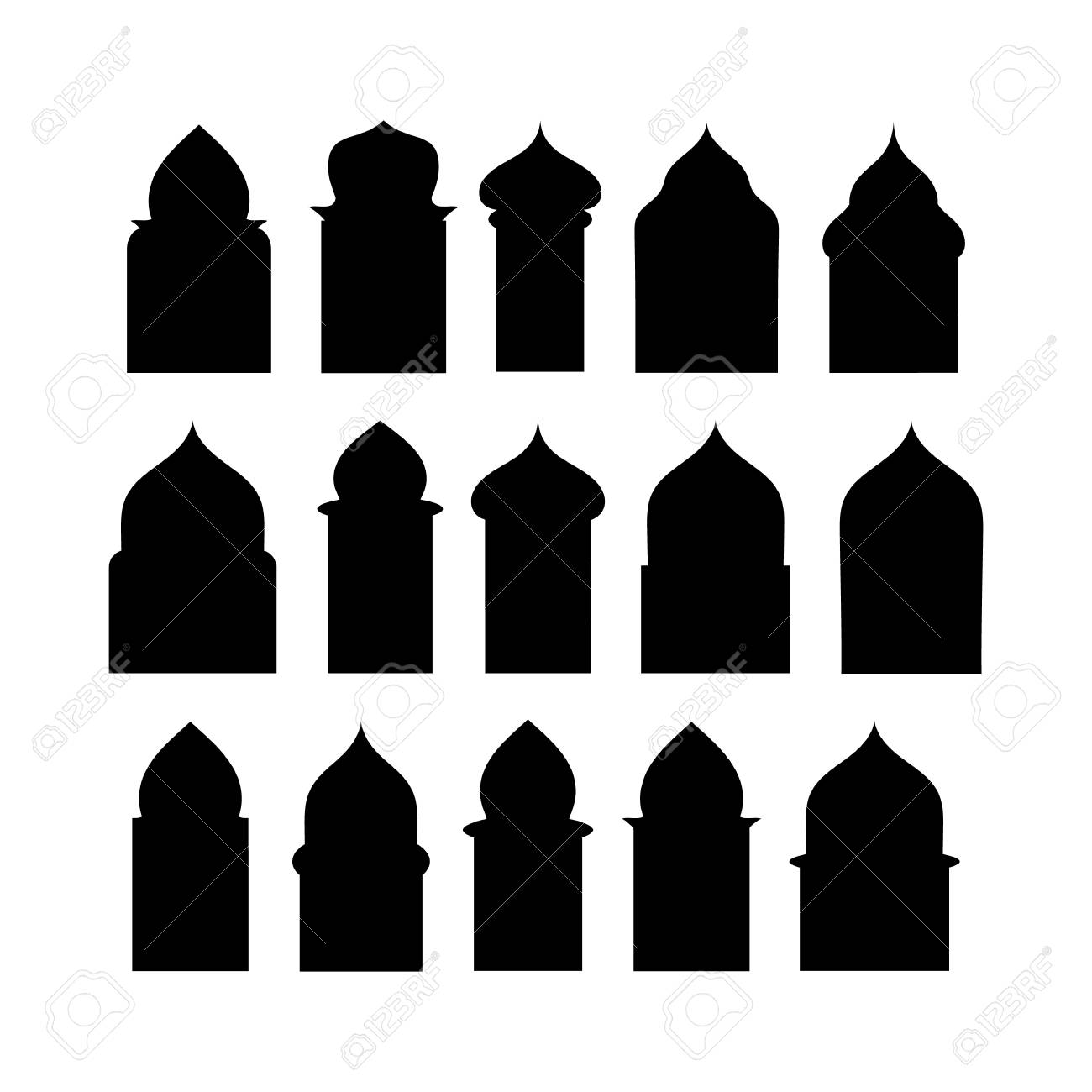 Vector set of 50 arabic doors and windows gate silhouette isolated on white background. Ramadan kareem shapes of windows and gates. Vector symbol traditional islamic arches - 102509527