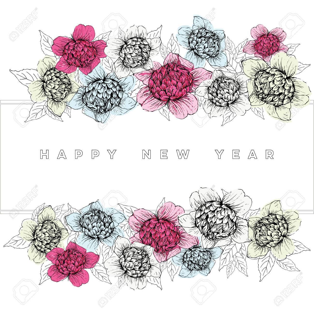 Whimsical and modern hand drawn of camellia flowers for happy vector whimsical and modern hand drawn of camellia flowers for happy new yearchristmasbirthdayanniversaryholidays cards izmirmasajfo