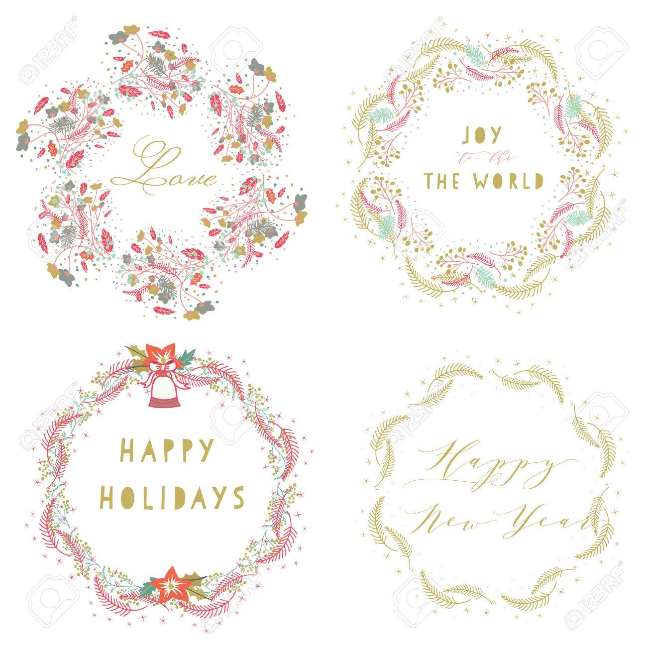 Whimsical Hand Drawn Of Celebration Wreaths For Happy Holidays,happy ...