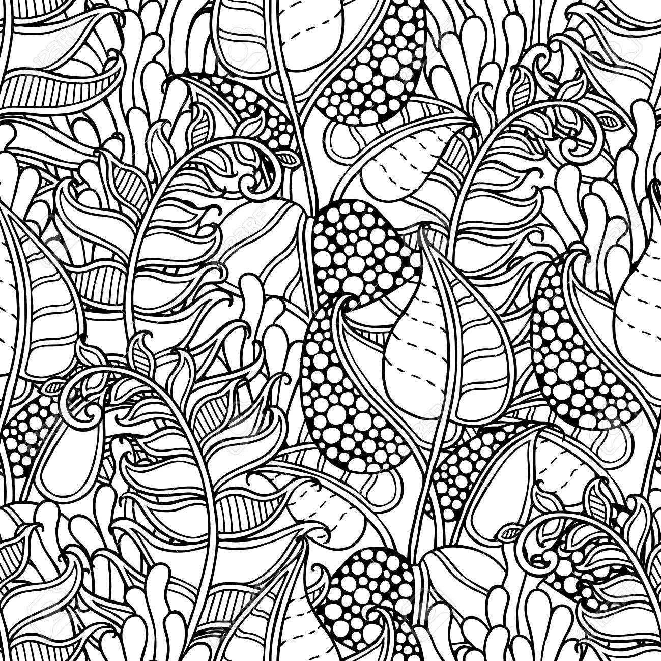 Seamless Nature Pattern In Doodle Style Floral Ornate Decorative Forest Vector Design