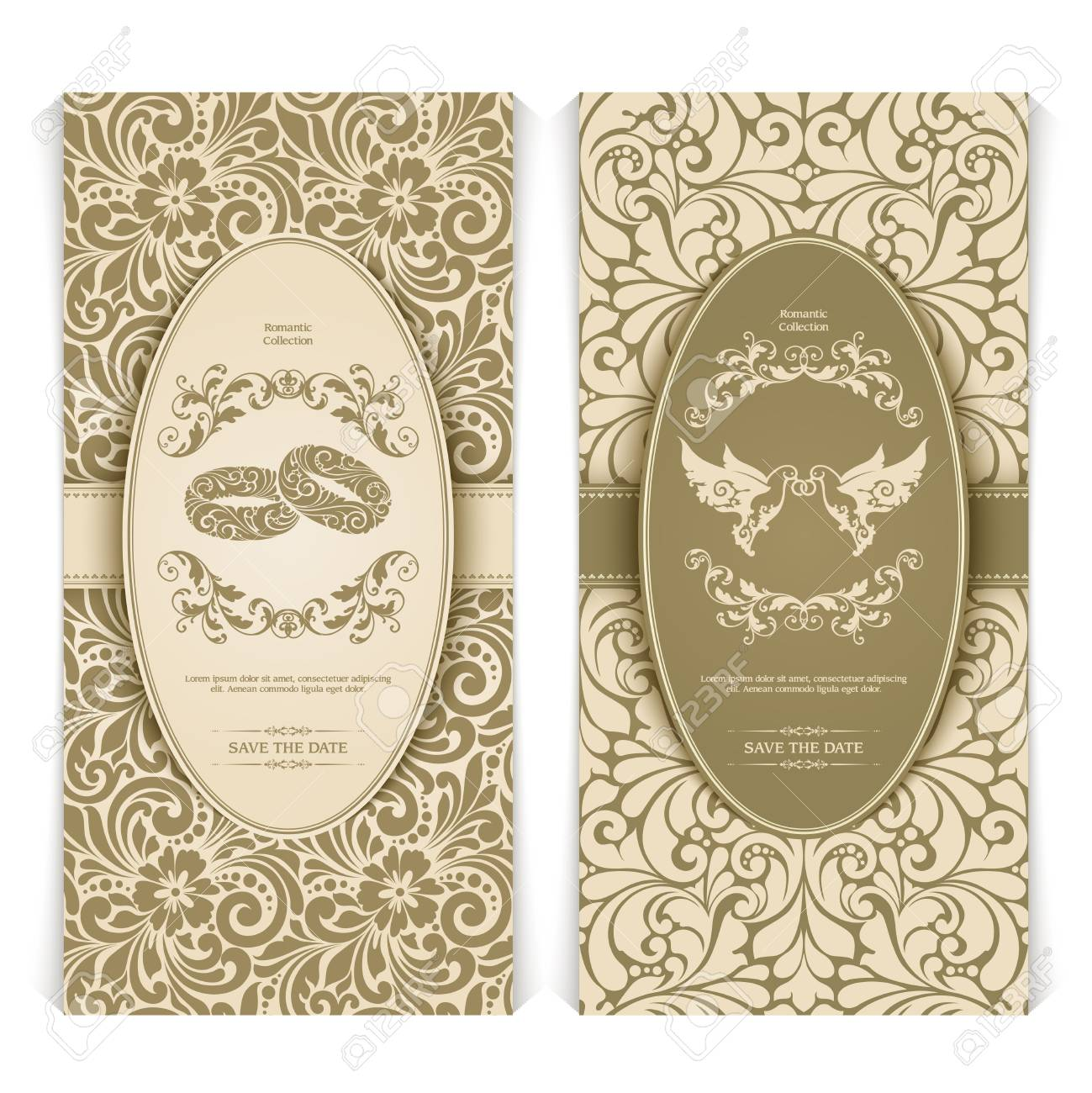 Vector Set Vintage Template With Seamless Pattern, Decor Frame ...