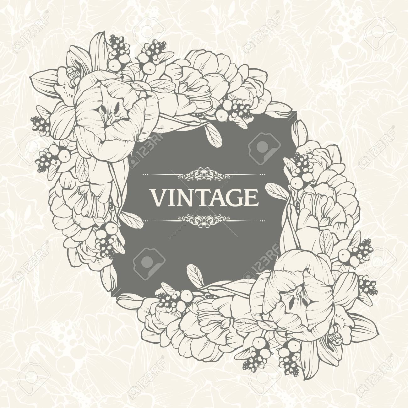 Vintage Floral Background Design. Vector Illustration. Template ...