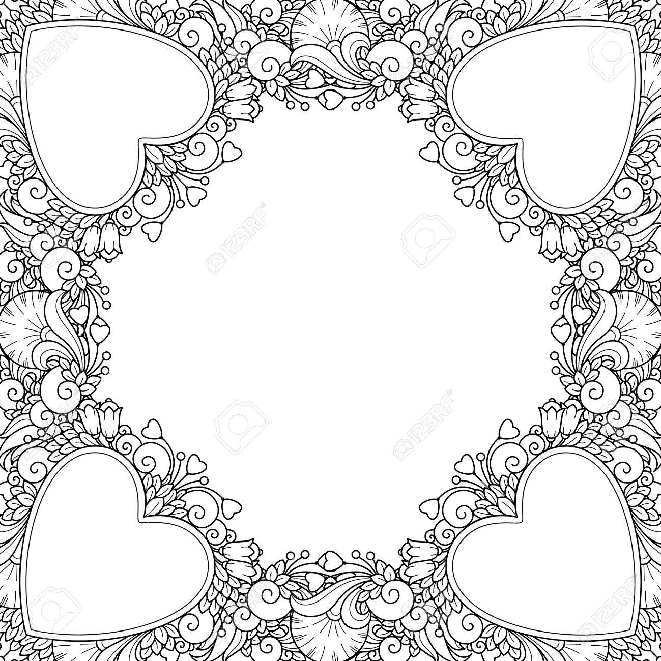 Zentangle Coloring Book Page Decorative Love Frame With Hearts Flowers Ornate Elements In Doodle Style Floral