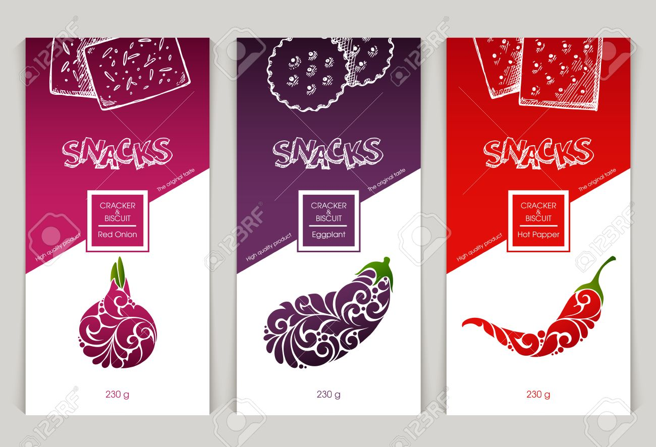 vector set of templates packaging design snack food, label, banner