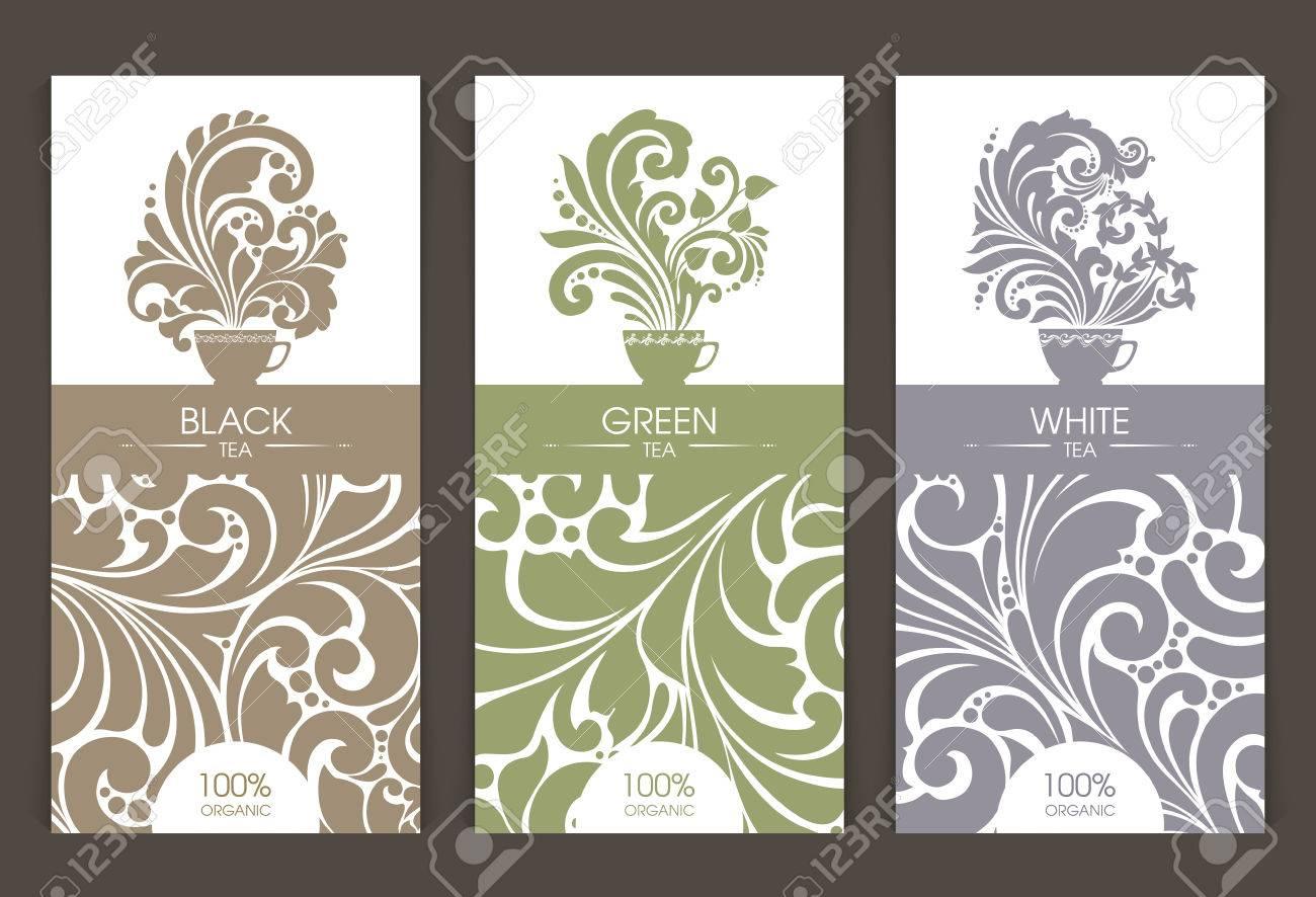 vector set of templates packaging tea label banner poster