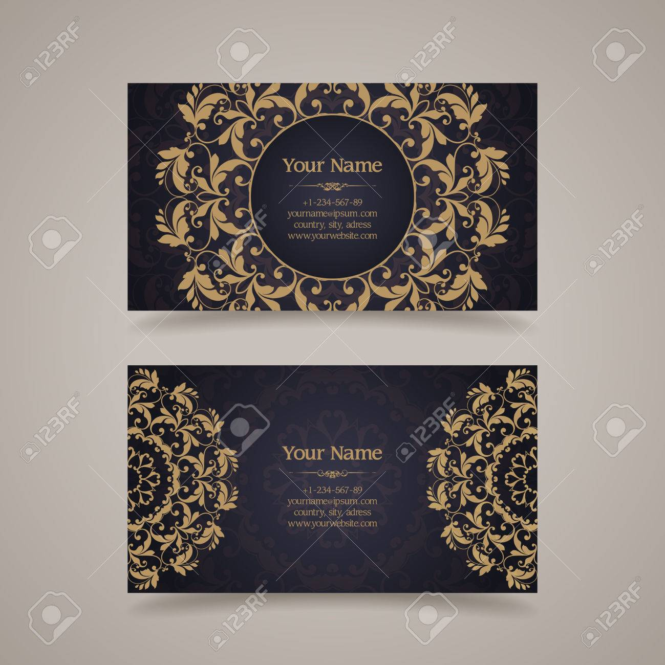 Set Of Vintage Template Ornamental Gold Design Elements And ...