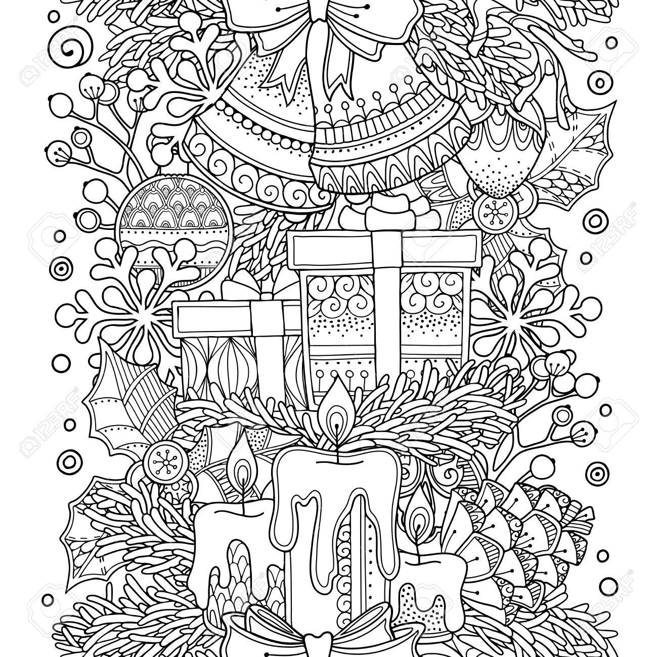 Christmas Seamless Border In Doodle Style Floral Ornate Decorative Tribal Design
