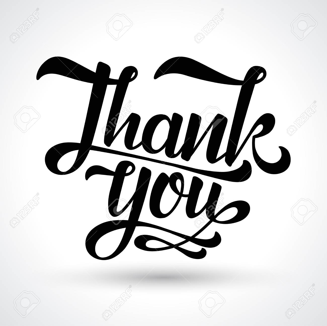 Thank You Card Vector Black Text On White Background Hand