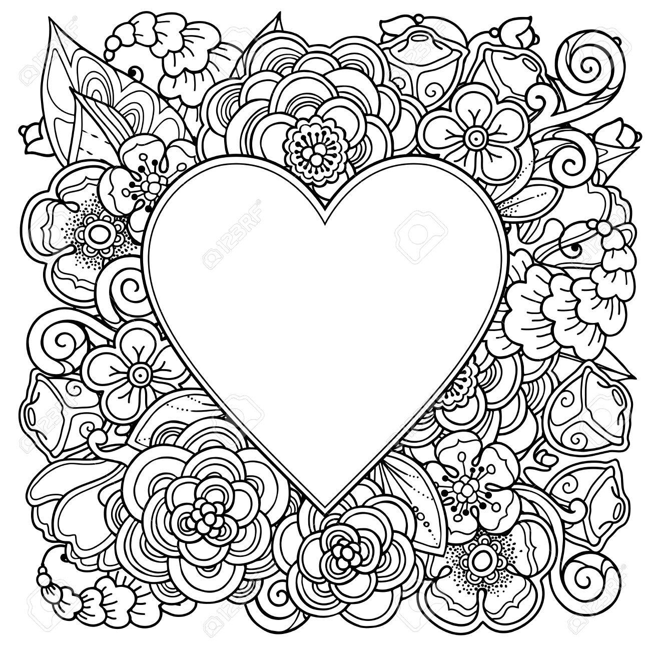 Zentangle Coloring Book Vector Garden Wreath Round Frame In Doodle Style Floral Ornate Decorative Design