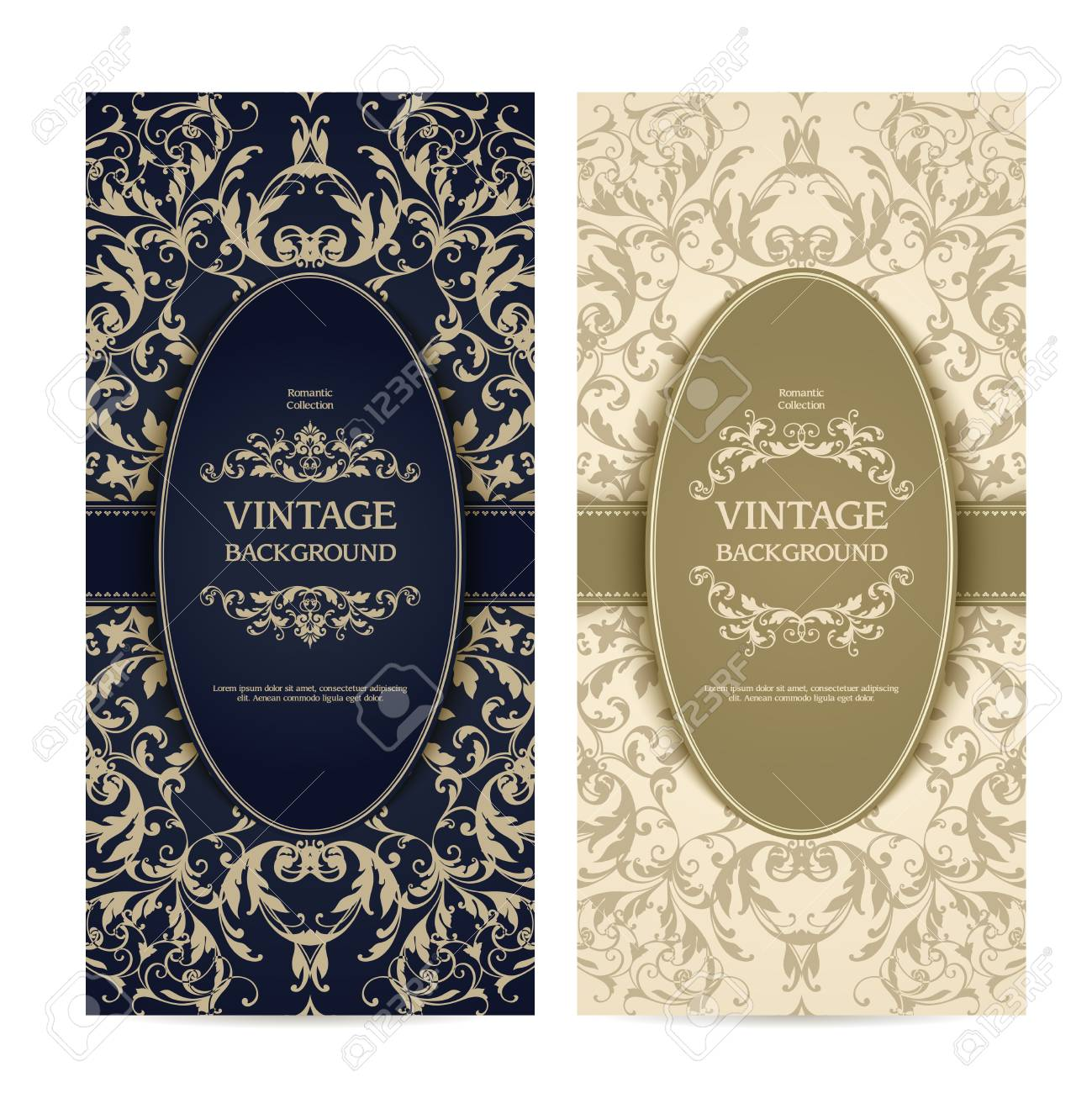 Vintage Template Set With Ornamental Frames And Patterned Background