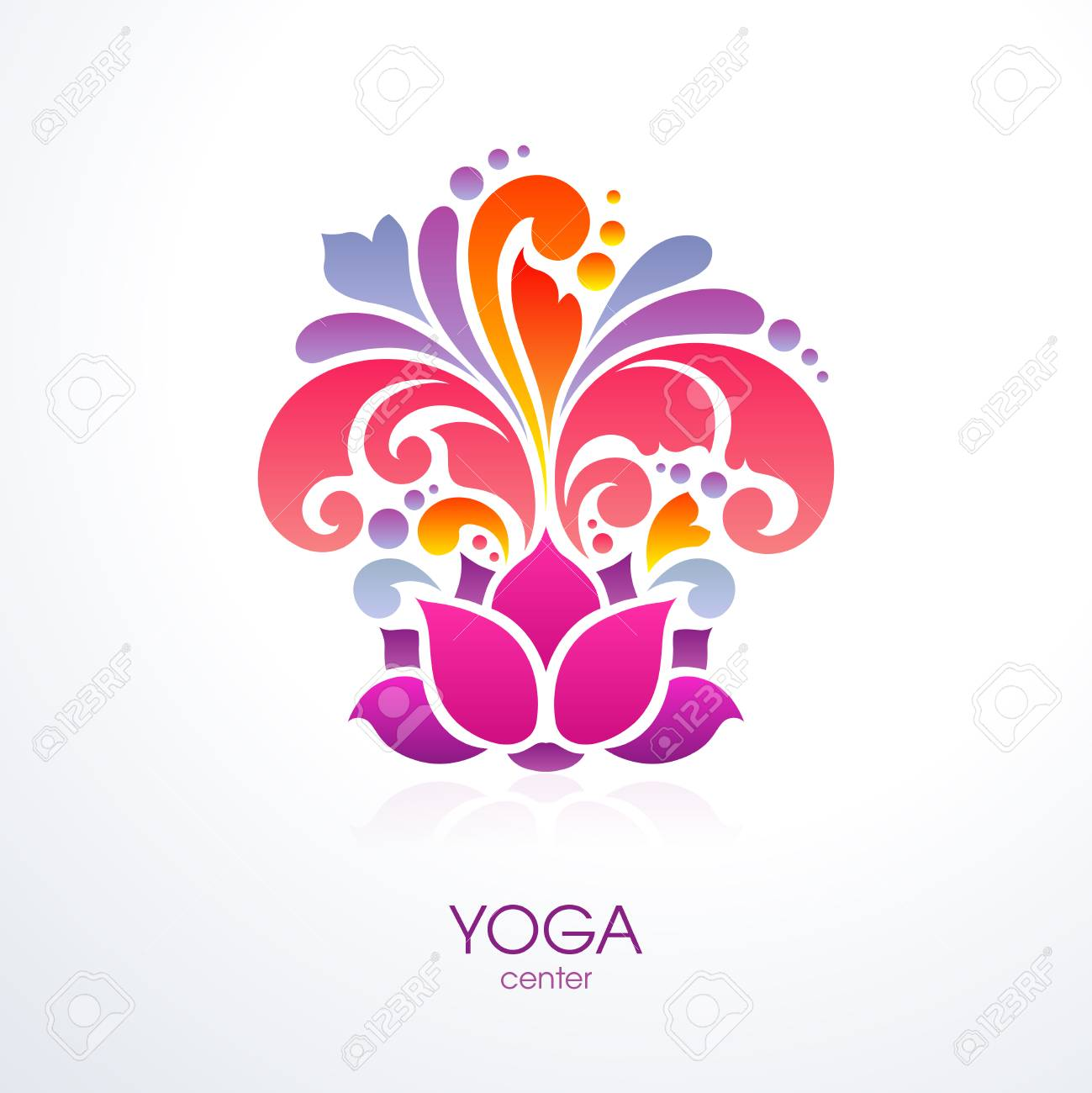 Abstract Colorful Ornate Splash Yoga Background Decorative Lotus Royalty Free Cliparts Vectors And Stock Illustration Image 97386651