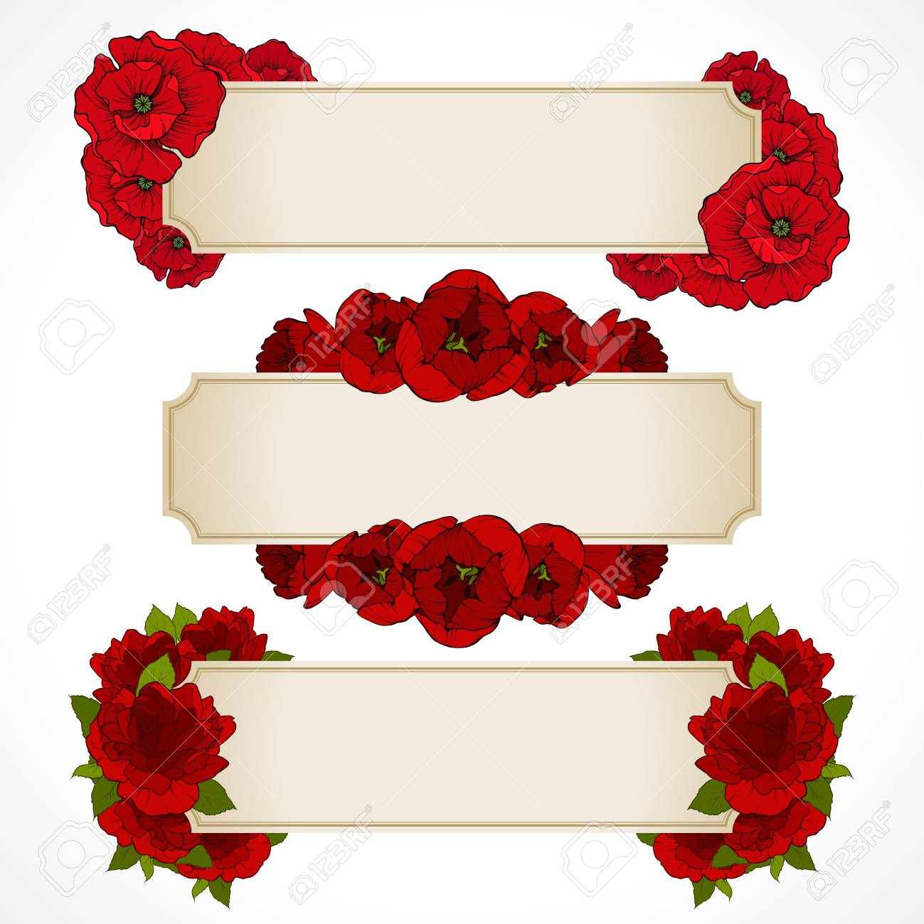 Vector Set Of Banners With Red Flowers. Greeting Card, Valentines ...