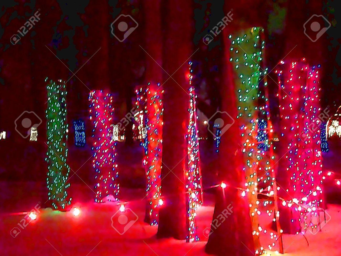 Cartoon Illustration Of Christmas Lights Around The Trunk Of.. Stock ...