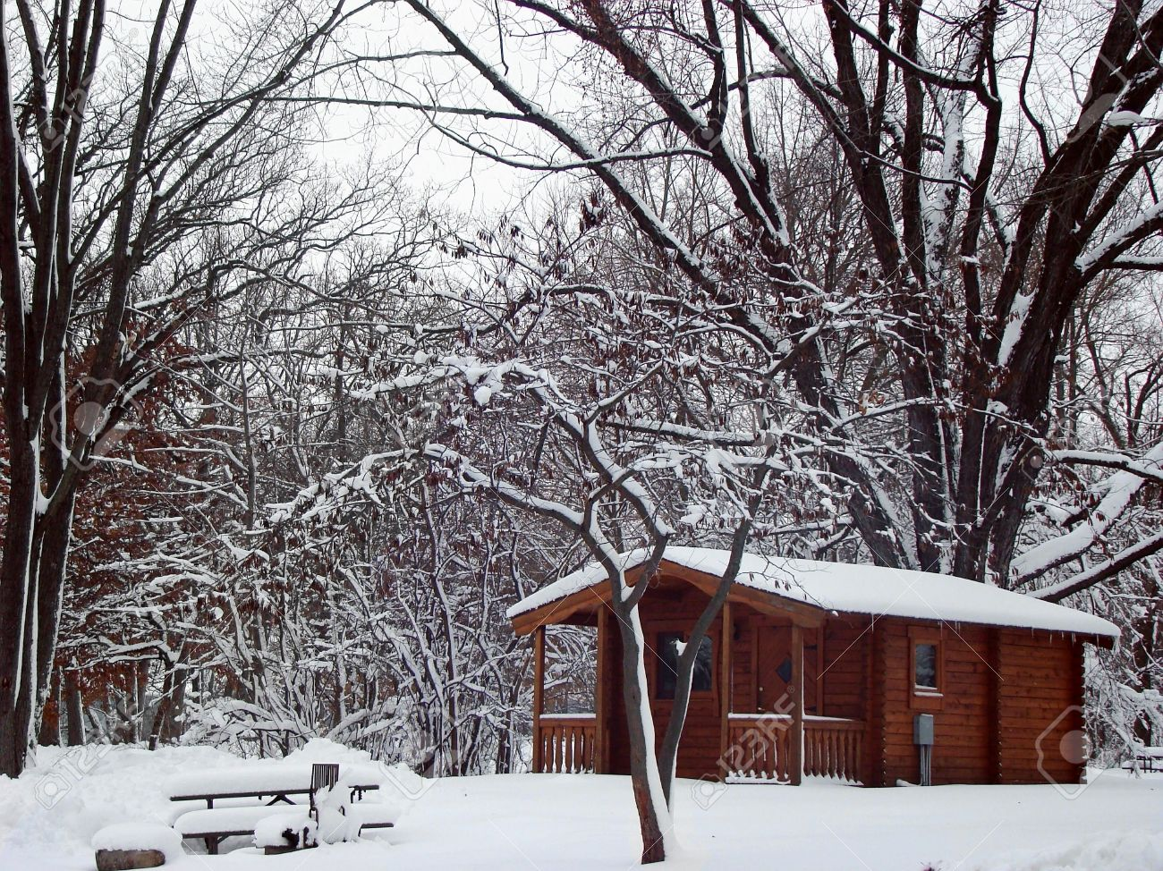 Stock Photography Of A Log Cabin In The Woods Snow Scenery Stock