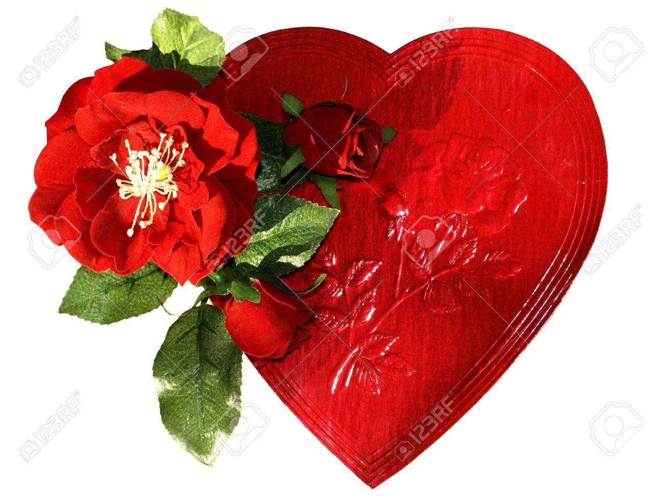 Picture of a red chocolate box with red roses for Valentine's Day, isolated over white Stock Photo - 4175866