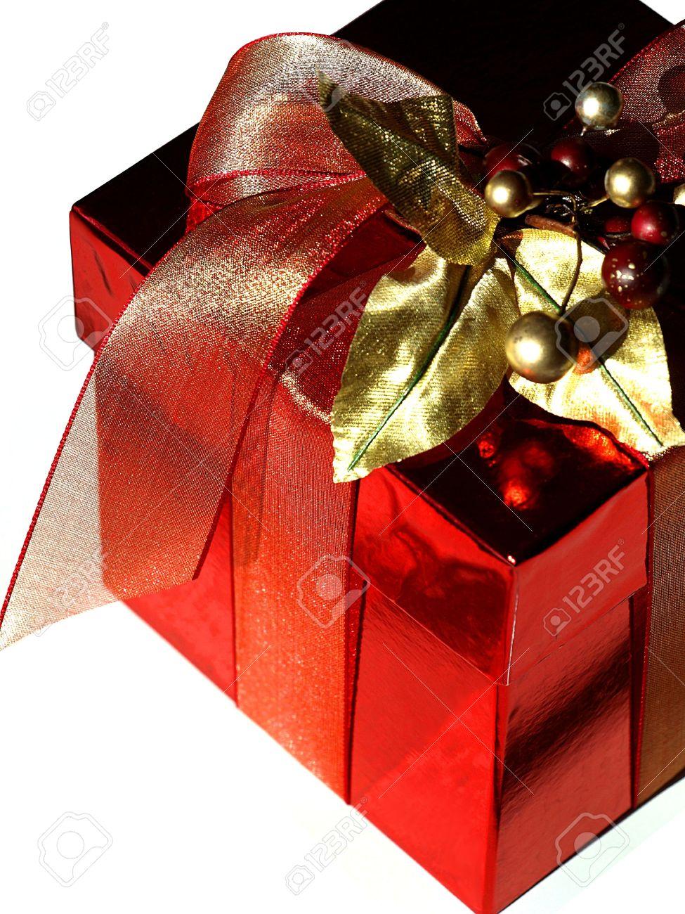 candy caja roja de regalo para navidad foto de archivo