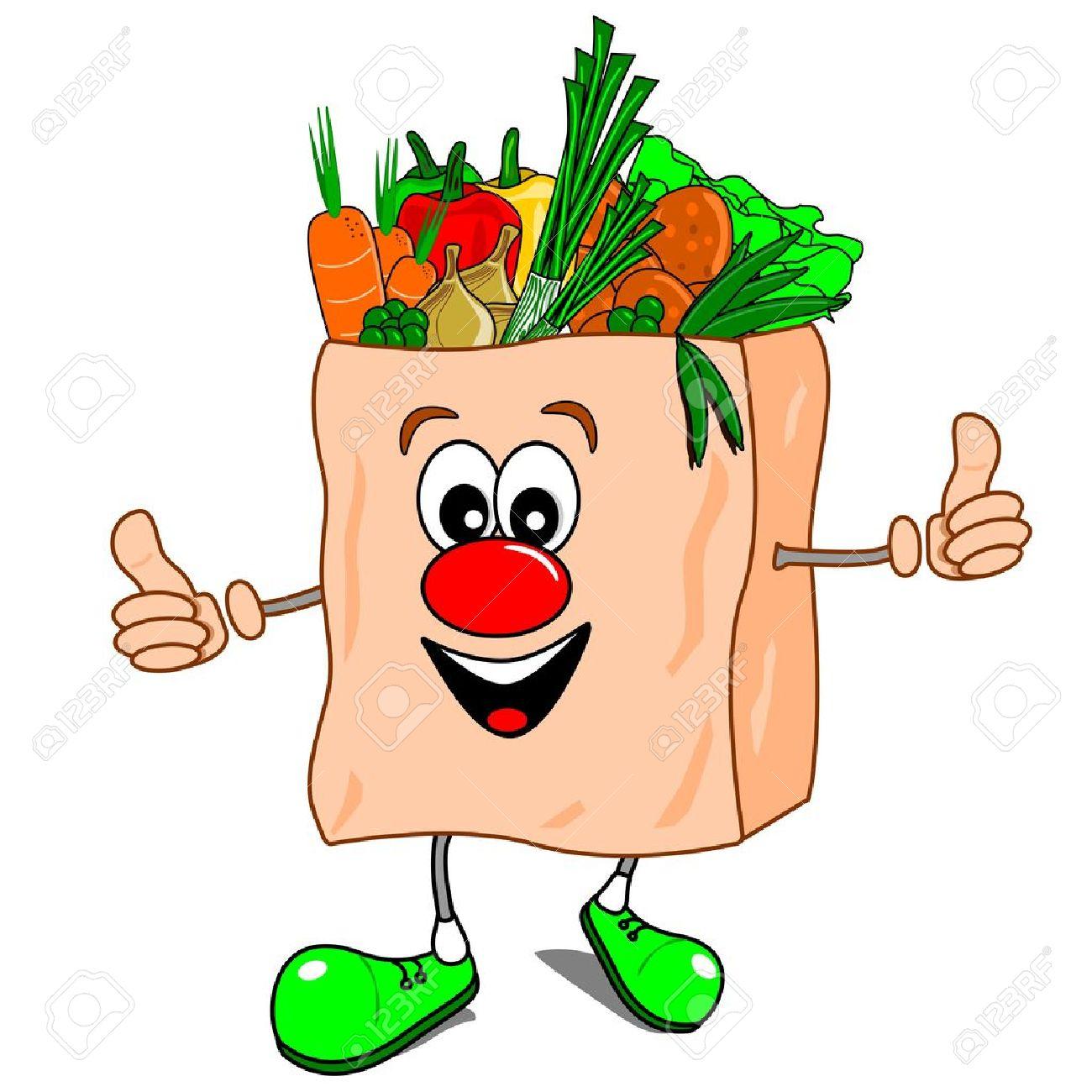 A cartoon shopping bag with vegetables Stock Vector - 10796683