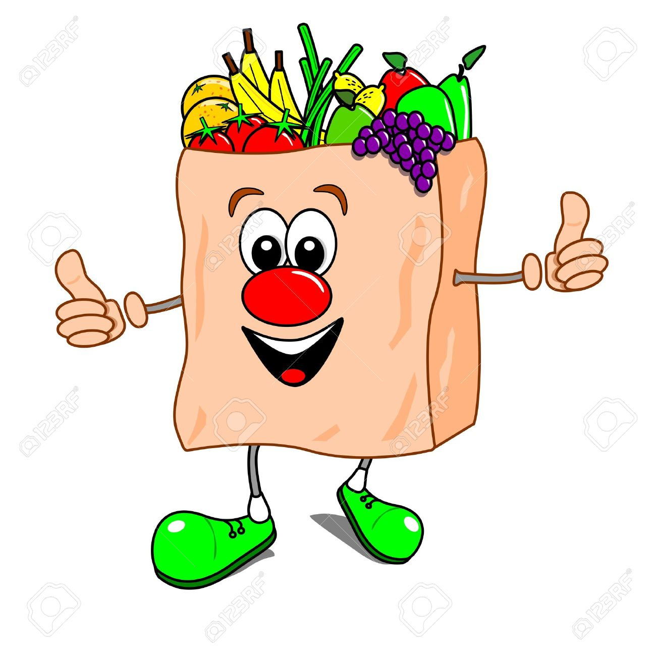 Cartoon illustration of a shopping bag with fruit and vegetables Stock Vector - 10796679