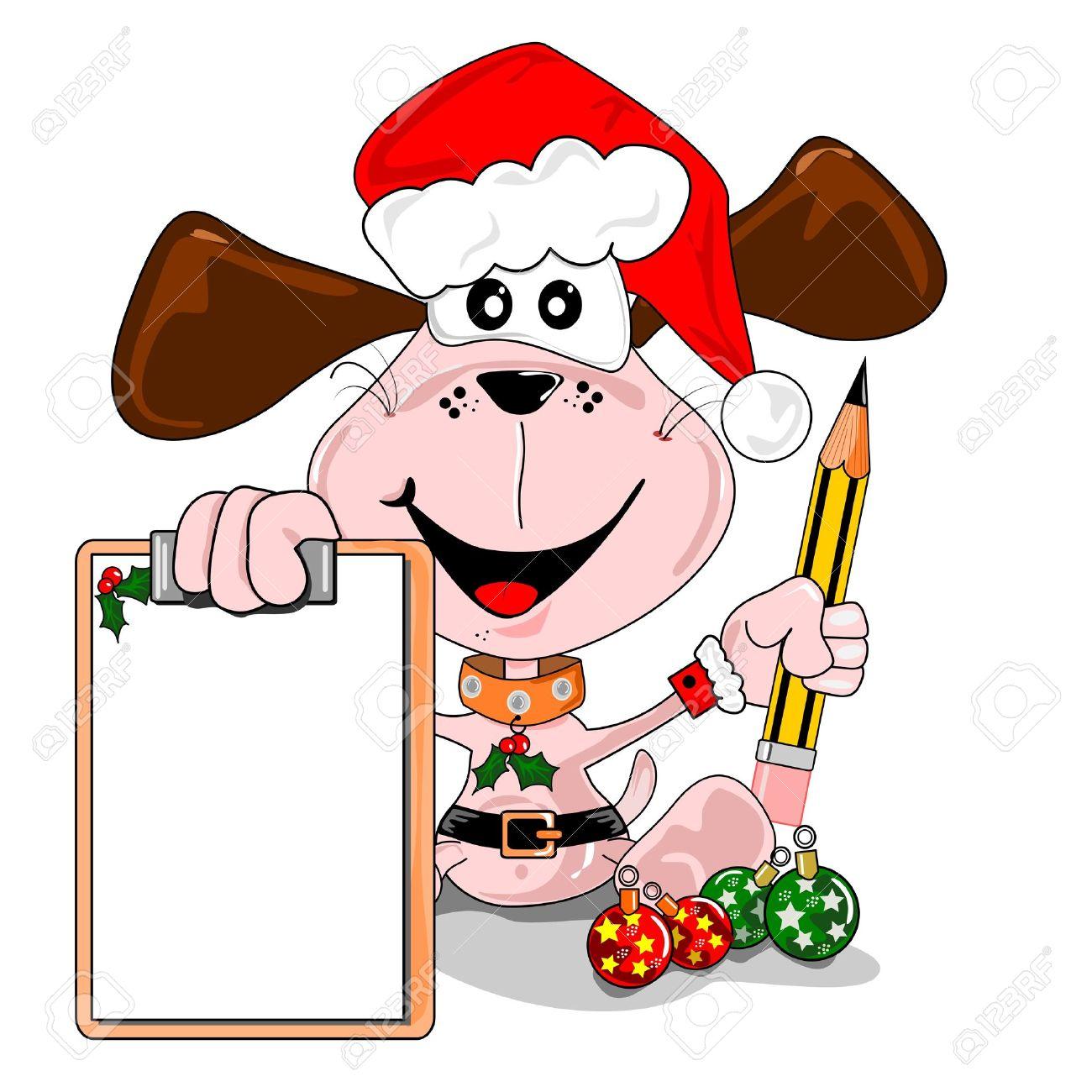 Cartoon dog with a blank Christmas wish list. Days to go. Stock Vector - 10833668