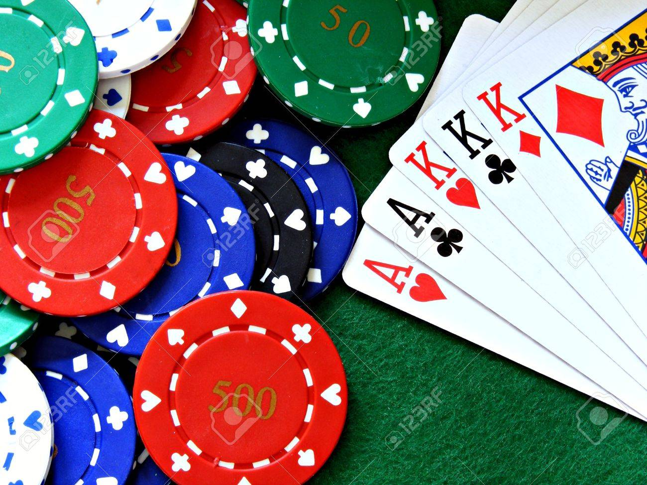 Poker table background - A Full House Poker Hand With Poker Chips On A Green Felt Poker Table Background Stock