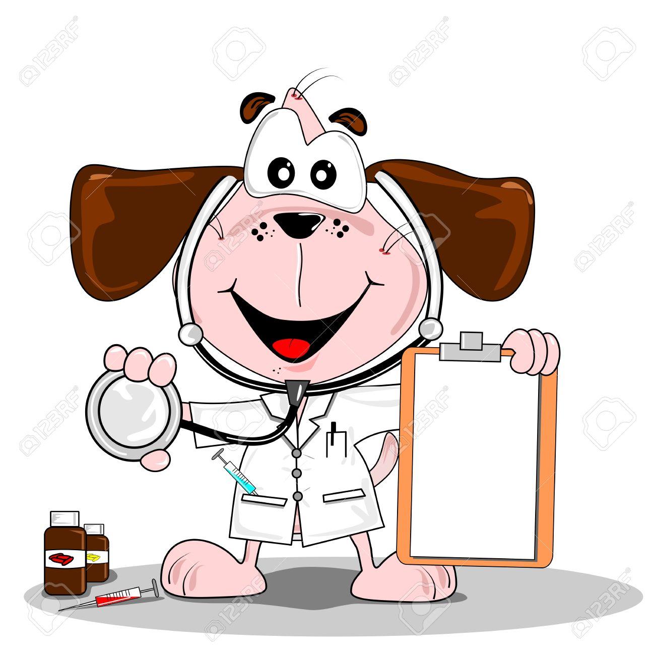 A cartoon dog doctor or vet with stethoscope & blank clipboard Stock Vector - 11287718