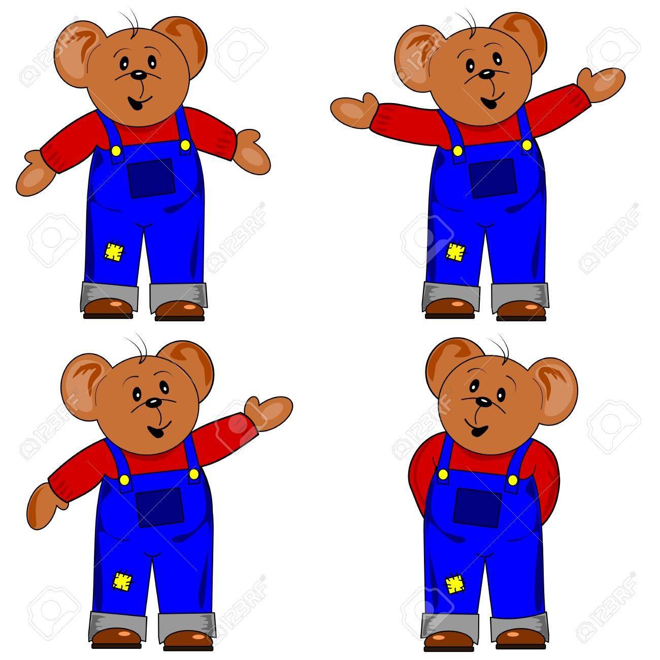 Cartoon teddy bear in various standing positions Stock Vector - 11744764