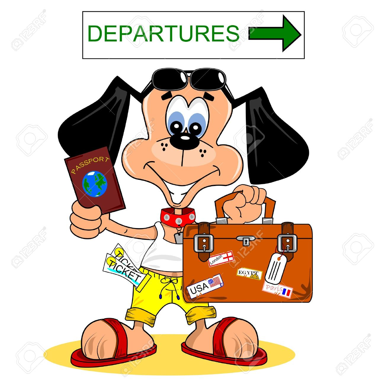 A Cartoon Dog Going On Summer Holiday Vacation Stock Vector