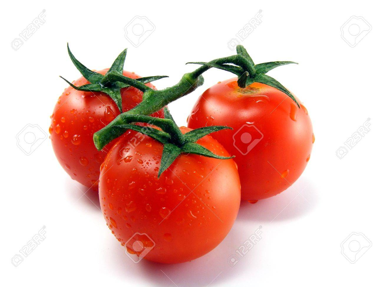 Wet fresh tomatoes with stem leaves on white background - 12898456