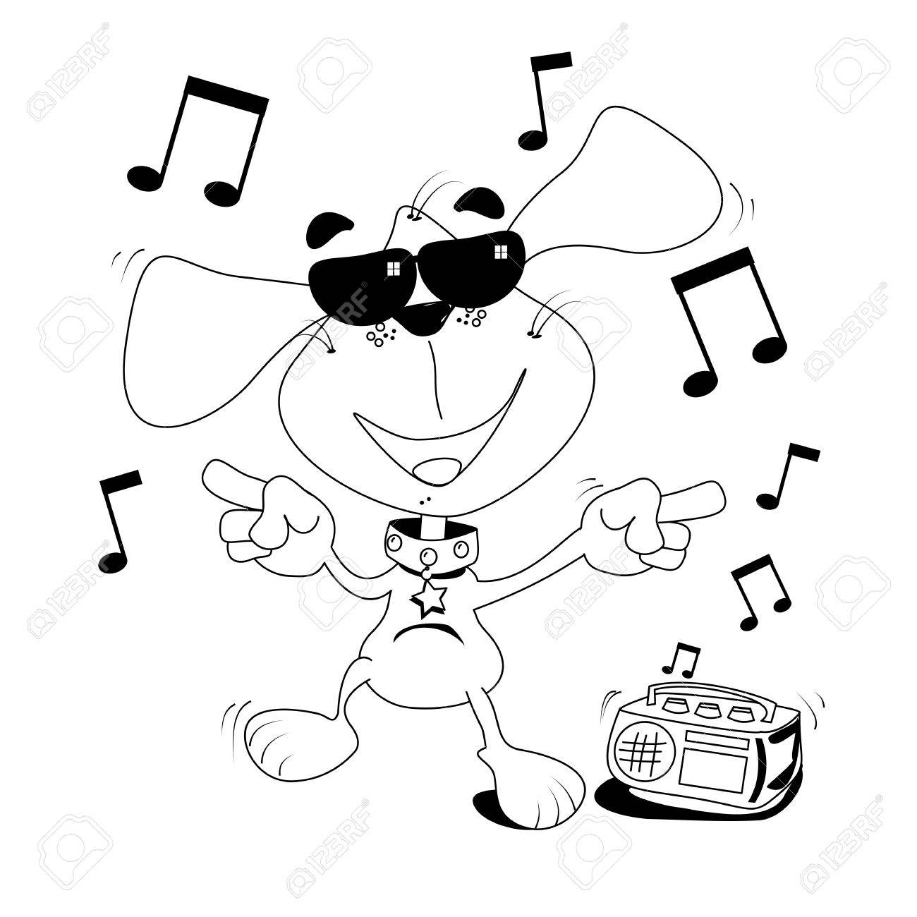 Cartoon Dog Dancing Outline For Colouring In Book Royalty Free ...