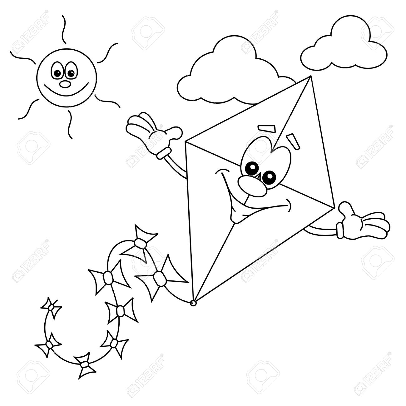 Cartoon Kite Outline For Colouring In Book Royalty Free Cliparts ...