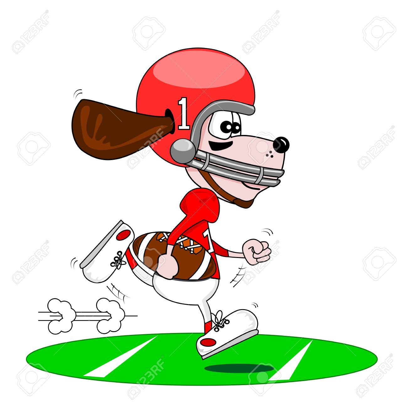 A Cartoon Dog American Football Stock Vector