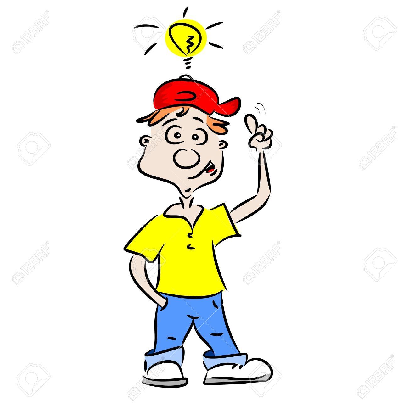 a cartoon boy with a good idea royalty free cliparts vectors and