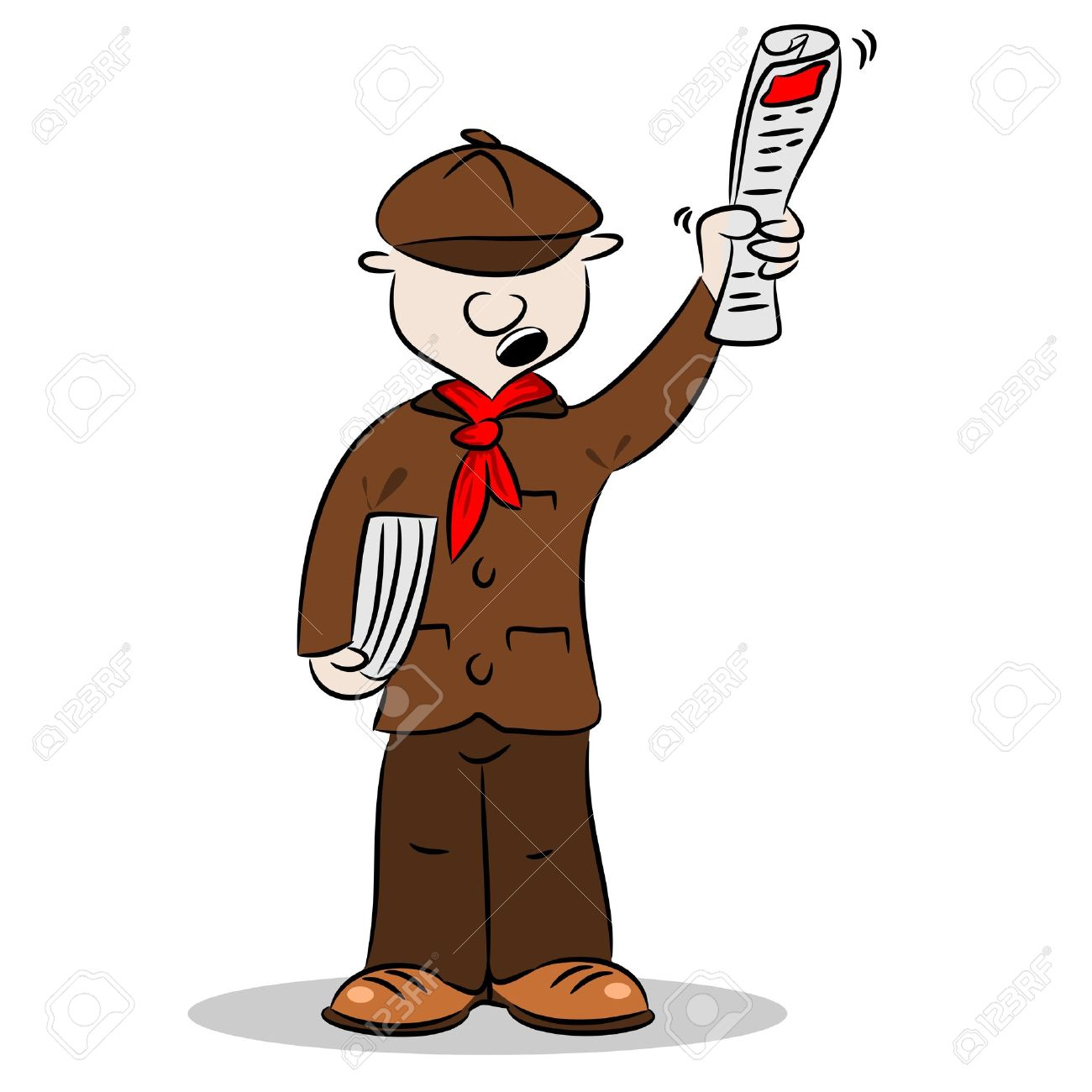 A cartoon newspaper vendor selling newspapers and shouting Stock Vector - 15769232