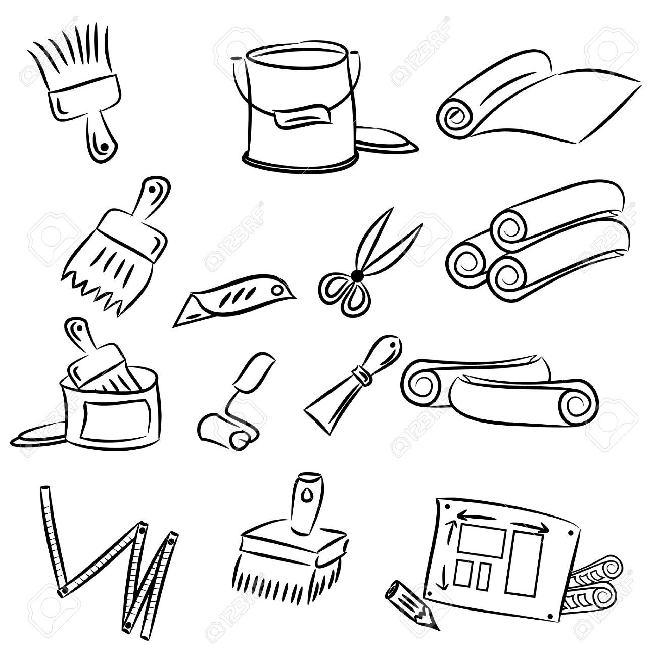 cartoon drawings of DIY tools for decorating and renovating Stock Vector - 15875327