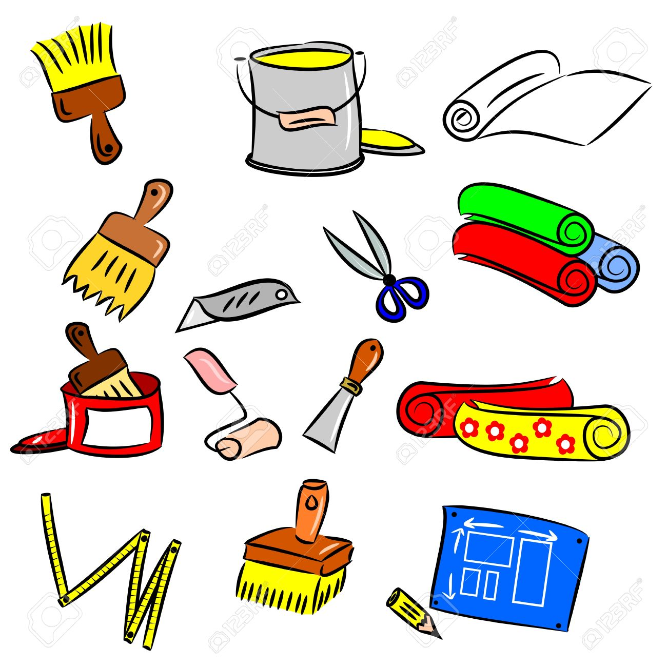 cartoon drawings of diy tools for decorating and renovating stock vector 15875326