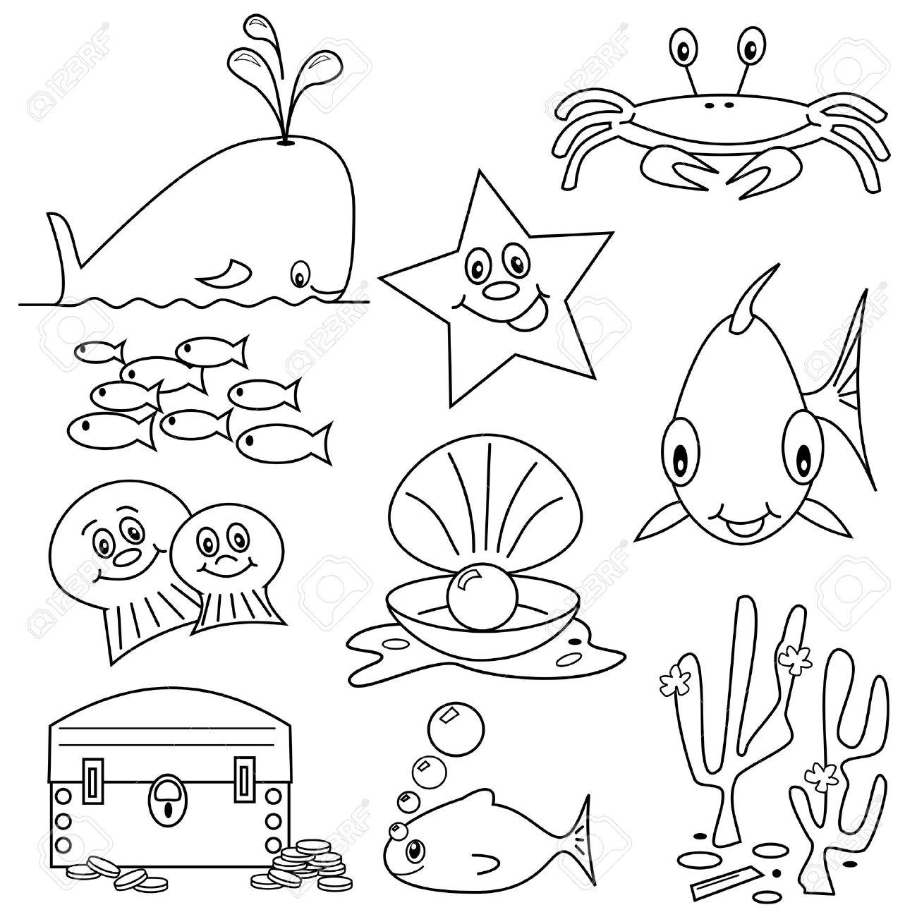 Asombroso Páginas Para Colorear De La Vida Marina Molde - Dibujos ...