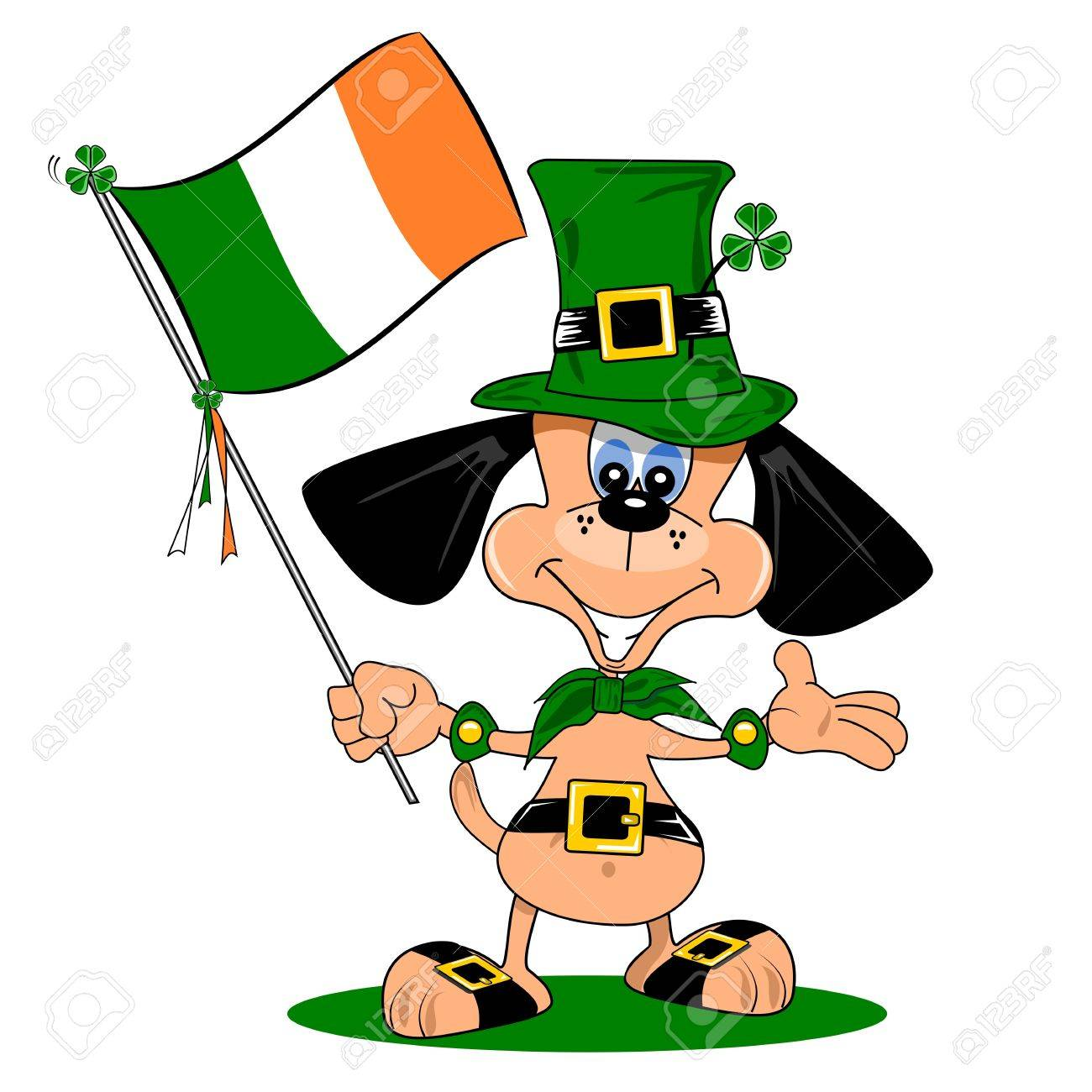 A cartoon dog celebrating St Patrick s day with Irish flag Stock Vector - 18003048