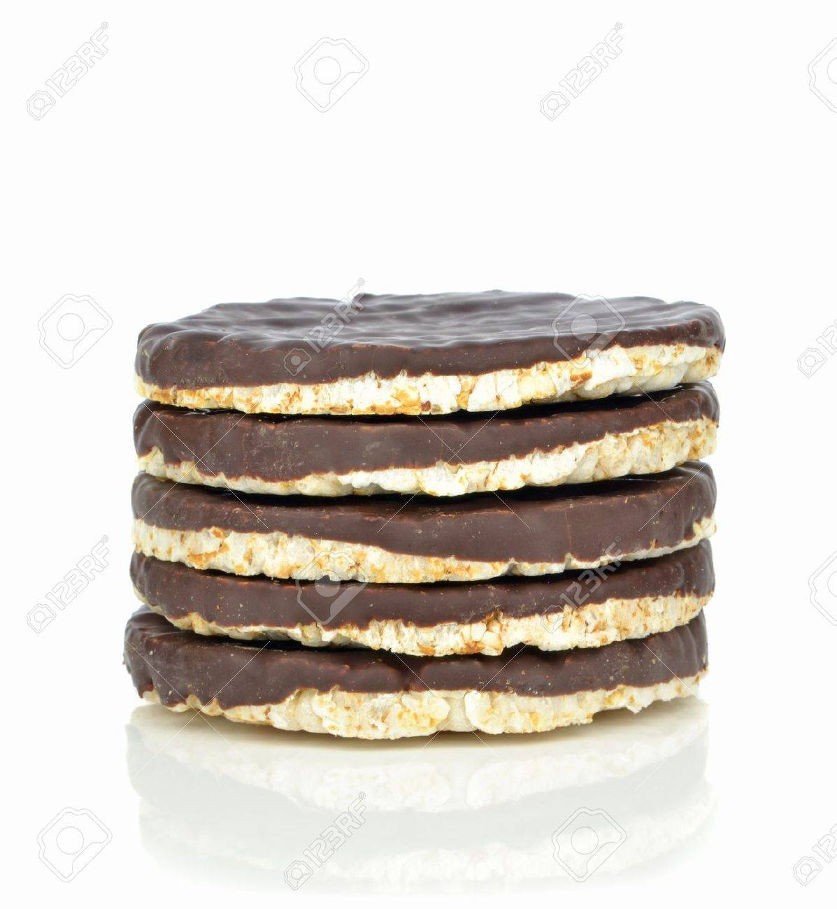A stack of chocolate coated rice cakes on white background
