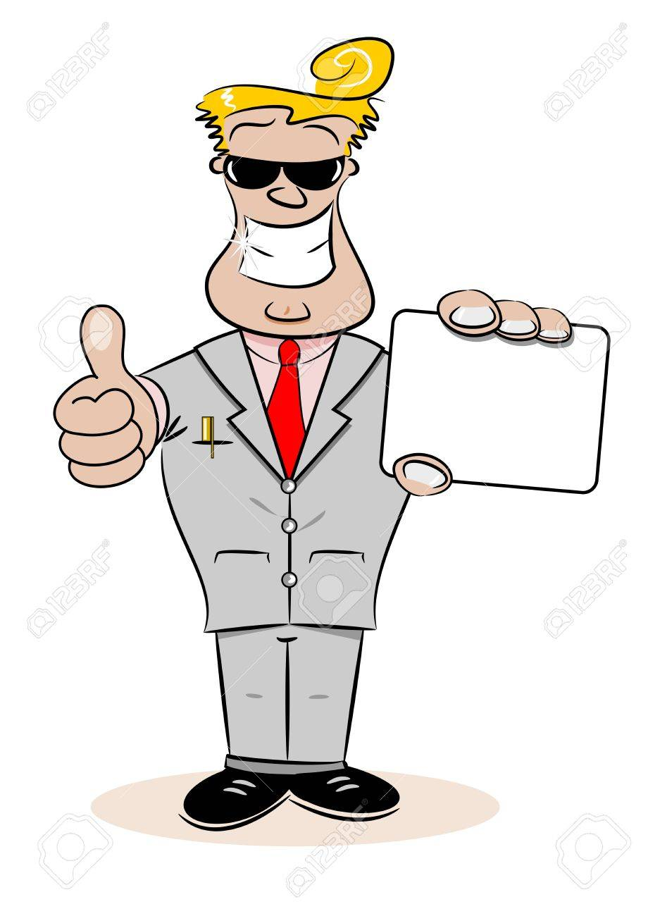 A Cartoon Businessman Holding A Blank Business Card Royalty Free ...